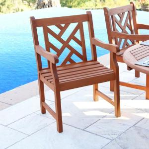 Roch Eucalyptus Herringbone-Back Patio Armchair