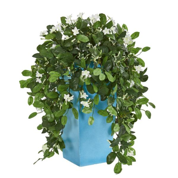 Nearly Natural 28 in. Indoor Stephanotis Artificial Plant in Turquoise Planter