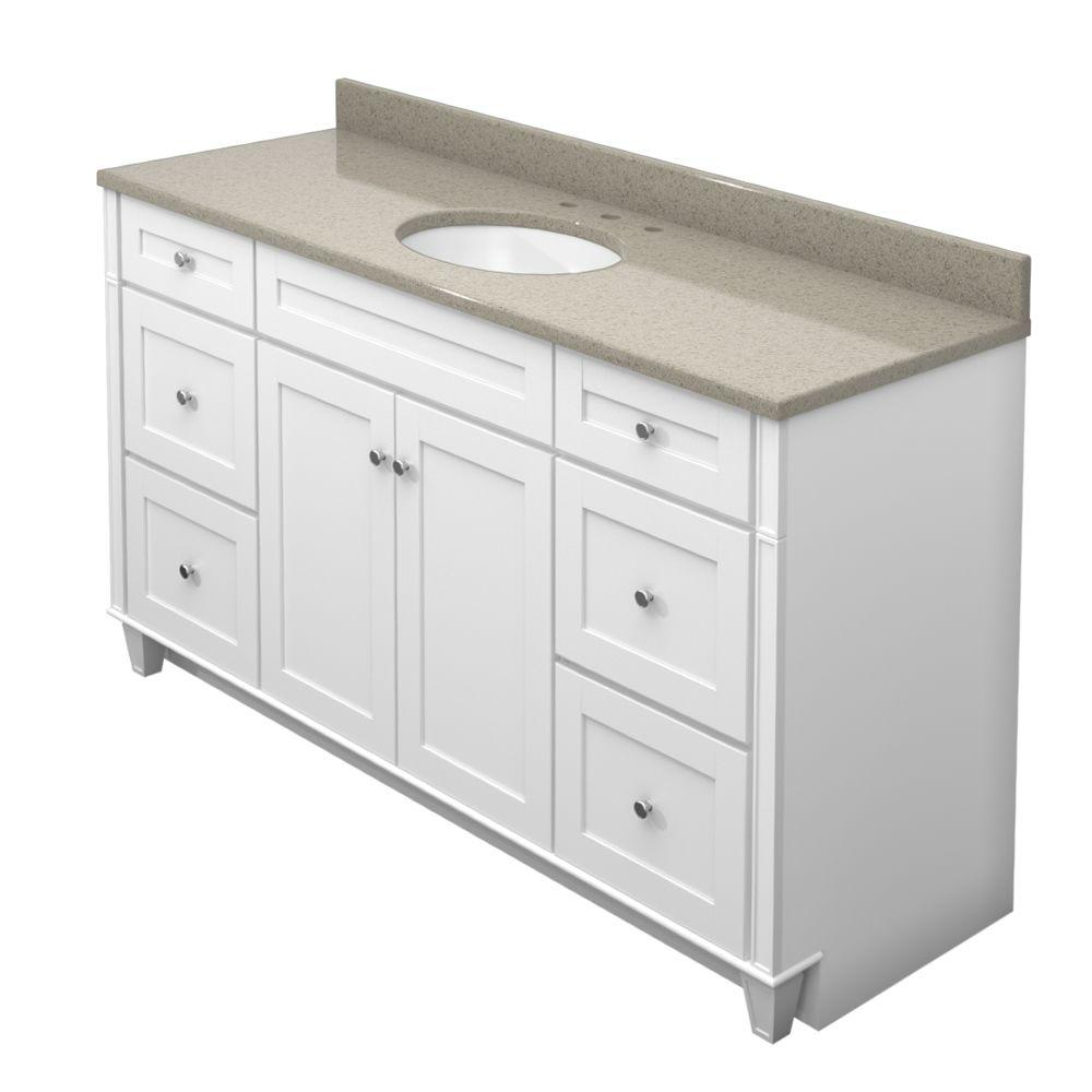 KraftMaid 60 in. Vanity in Dove White with Natural Quartz Vanity Top in Olive Ovation and White Sink