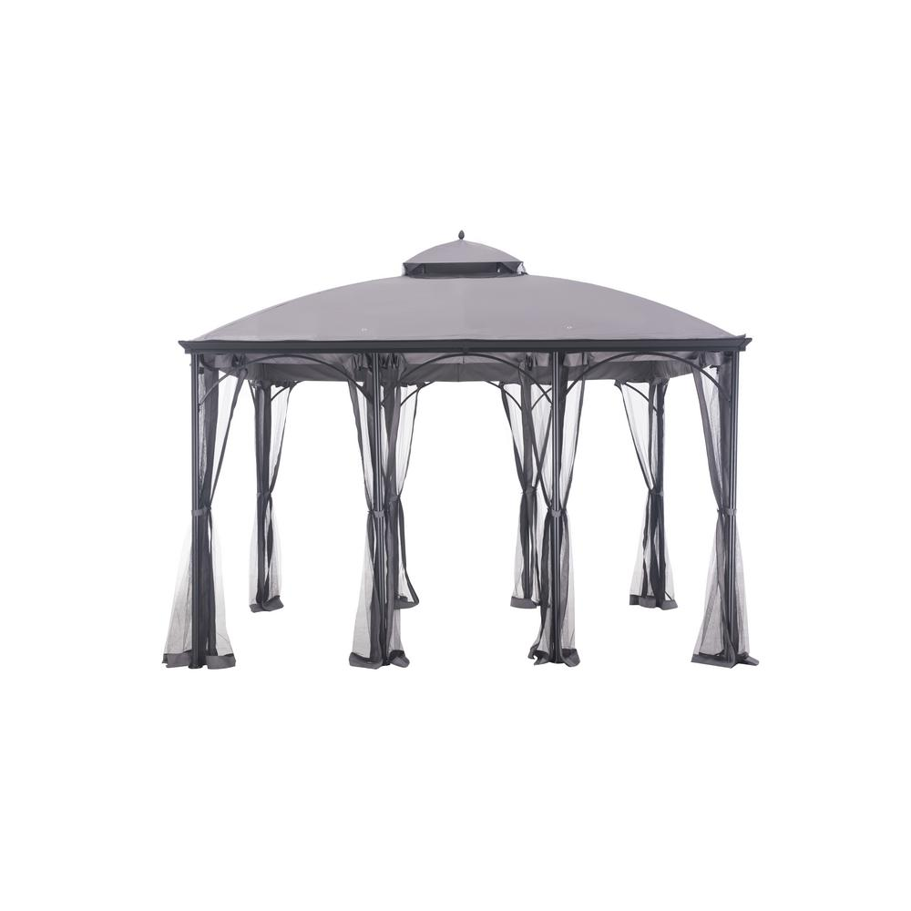 SunJoy Columbus 10 ft. x 12 ft. Gray Steel Soft Top Gazebo