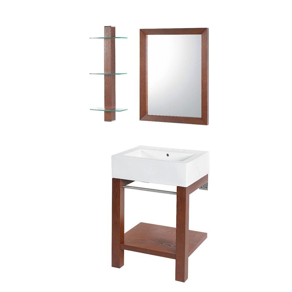DECOLAV Wall-Mount Bathroom Sink in Cognac with Countertop in White