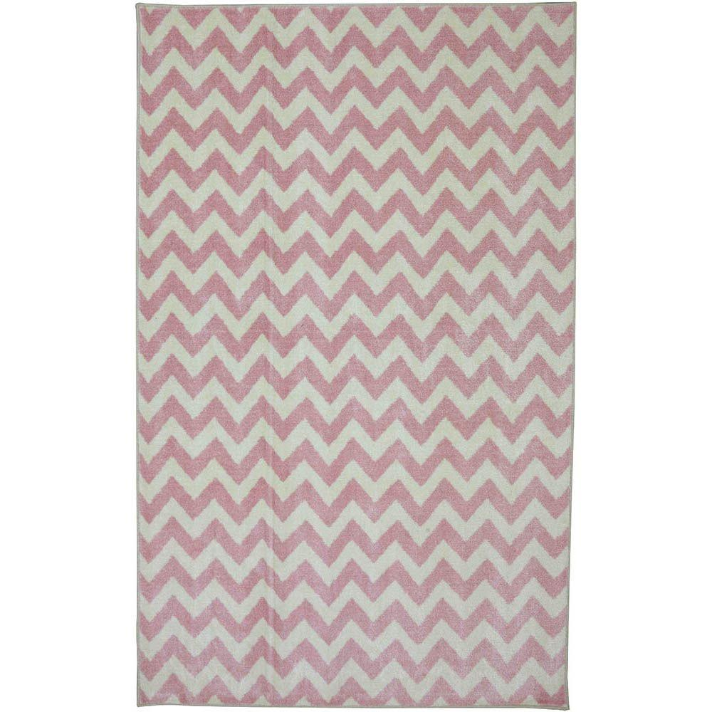 American Rug Craftsmen Fun Lines Pink 3 ft. 4 in. x 5 ft. Accent Rug