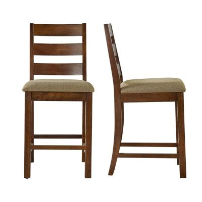 24 in. Hartnell Burnished Oak Cushioned Bar Stool (Set of 2)