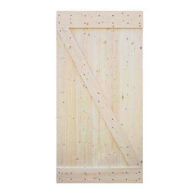42 in. x 84 in. Ready to Assemble Barn Interior Unfinished 100% Knotty Pine Wooden Sliding Door