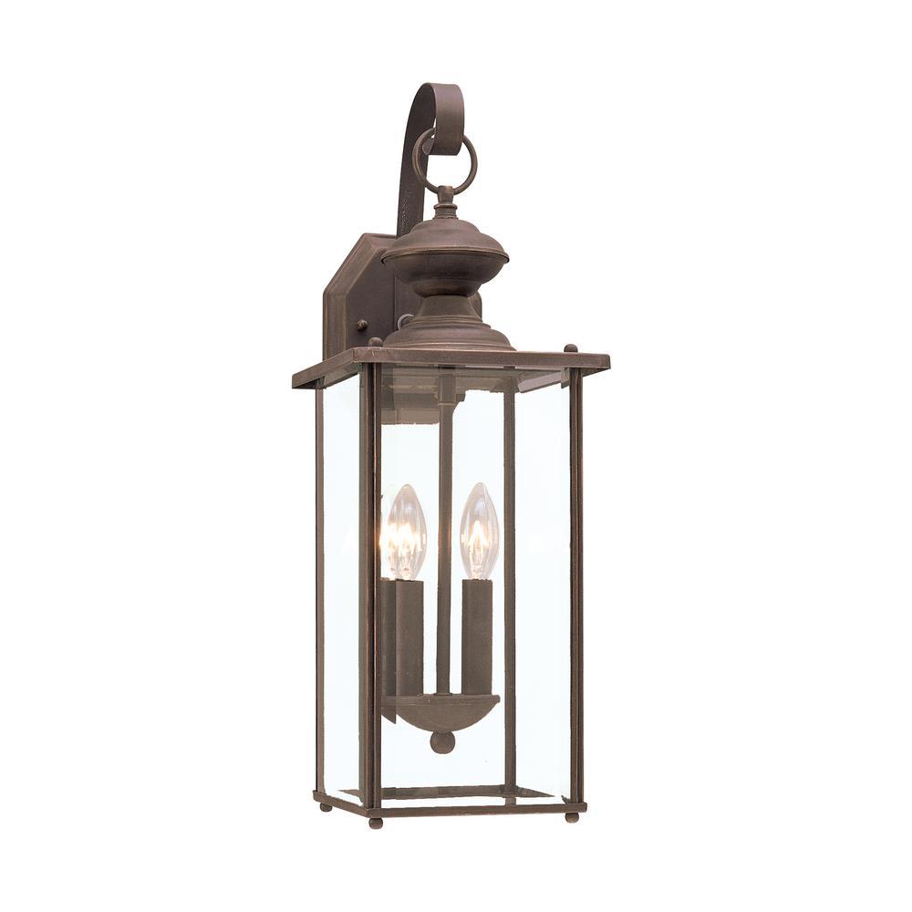 Jamestowne 2-Light Antique Bronze Outdoor Wall Mount Lantern