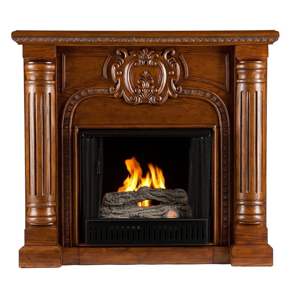 Southern Enterprises Romano 45 in. Gel Fuel Fireplace in Salem Antique Oak