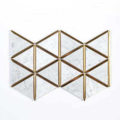 Larchmont Metallic 8.5 in. x 14.5 in. x 8 mm Geometric Marble with Metal Mosaic Tile
