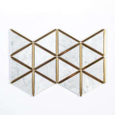Larchmont Metallic Interlocking 8.5 in. x 14.5 in. x 8mm Marble with Metal Mosaic Tile