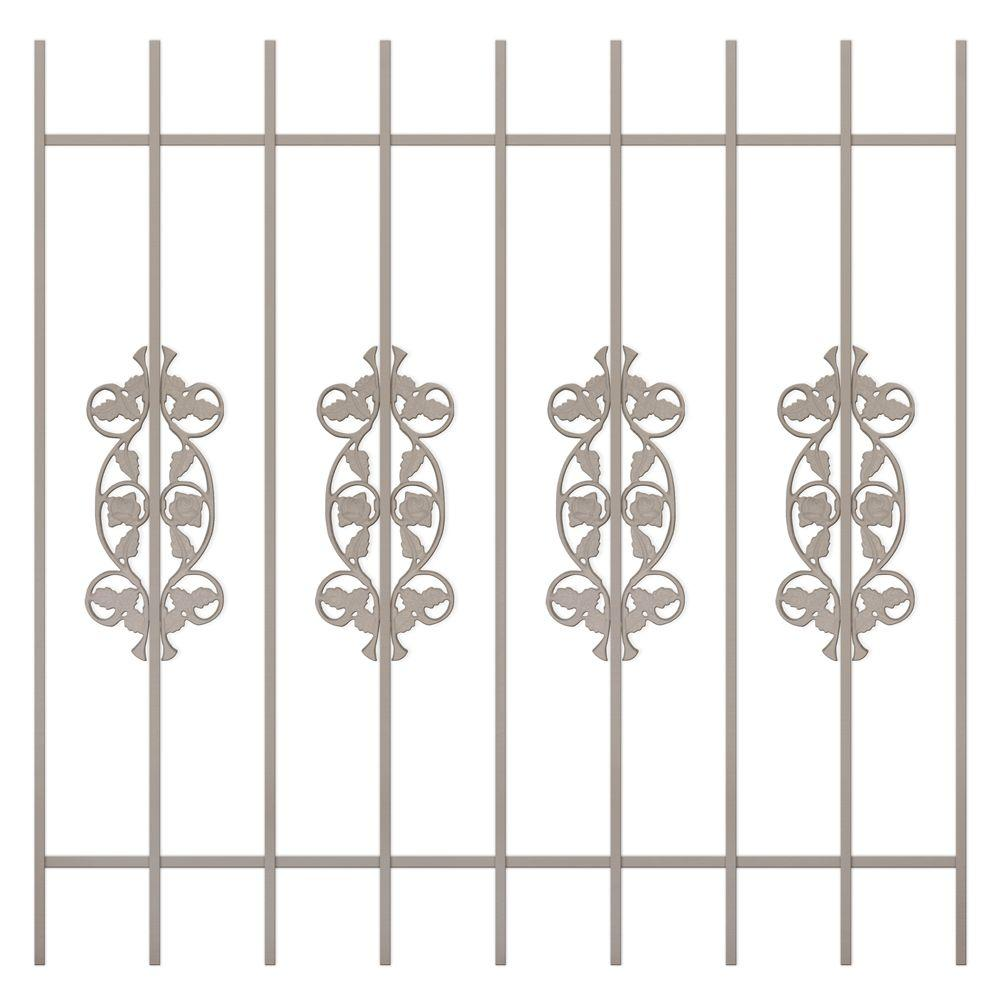 Unique Home Designs Rambling Rose 48 in. x 48 in. Tan 9-Bar Window Guard-DISCONTINUED