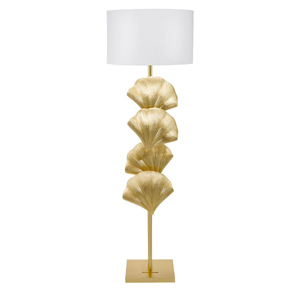 Cresswell 64 in. Gold Leaf Art Deco Coastal Seashell Floor Lamp and LED Bulb