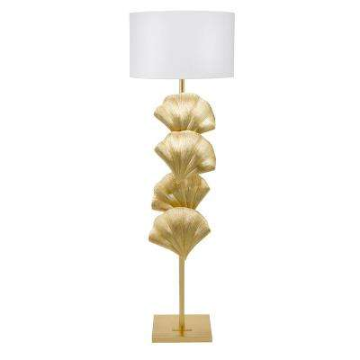 64 in. Gold Leaf Art Deco Coastal Seashell Floor Lamp and LED Bulb