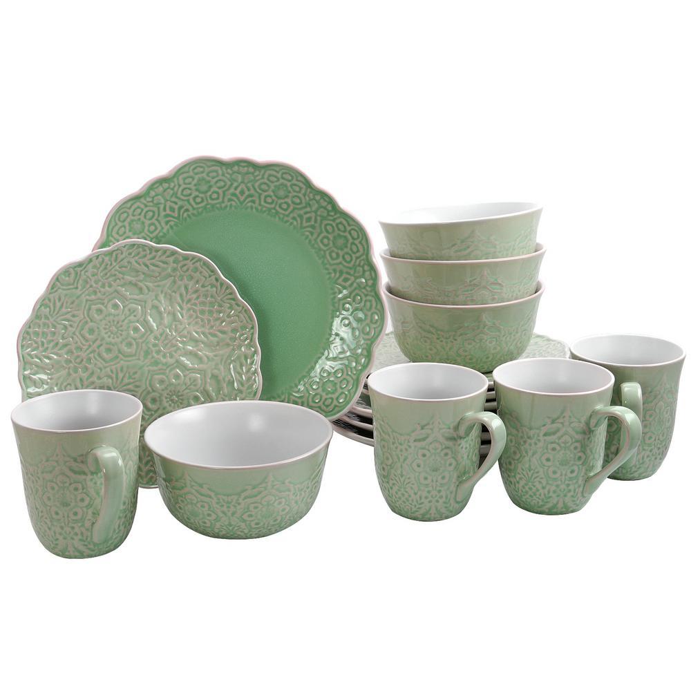 GIBSON elite Portina 16-Piece Scallop Shape Celadon Dinnerware Set 985111650M