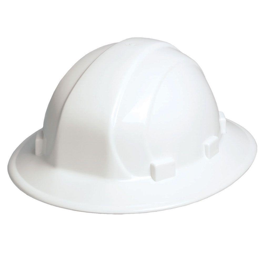 Omega II 6 Point Nylon Suspension Slide-Lock Full Brim Hard Hat in White