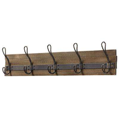 27 in. Rustic Pine and Distressed Brass Hook Rack