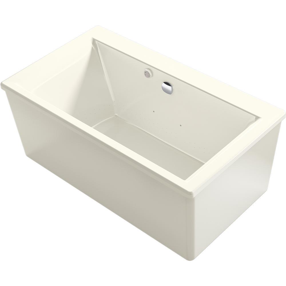 Stargaze 60 in. Acrylic Flatbottom Air Bath Bathtub with Straight Shroud in Biscuit