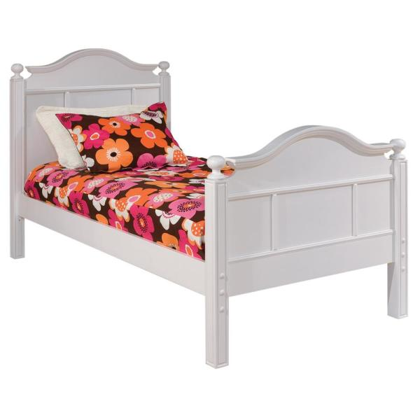 undefined Emma White Twin Bed with Tall Headboard