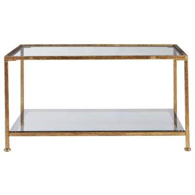 Bella Aged Gold Square Glass Coffee Table