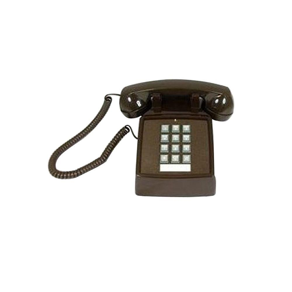 Cortelco Desk Corded Telephone with Volume Control - Brown