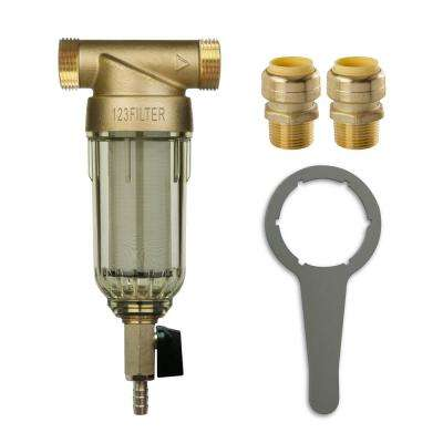 WSP-50 Reusable Spin Down Sediment Water Filter with Push-Fit Plumbing Fittings 20 GPM 1 in. MNPT 3/4 in. FNPT
