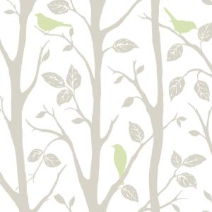 NuWallpaper Grey and Green Sitting In A Tree Peel And Stick Wallpaper by NuWallpaper