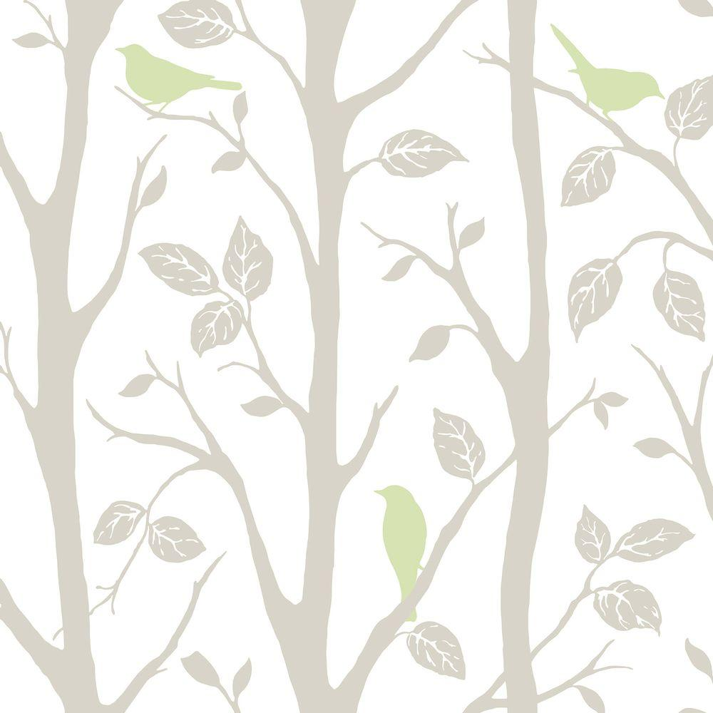 Nuwallpaper Grey And Green Sitting In A Tree Vinyl Strippable Wallpaper Covers 30 75 Sq Ft Nu1655 The Home Depot