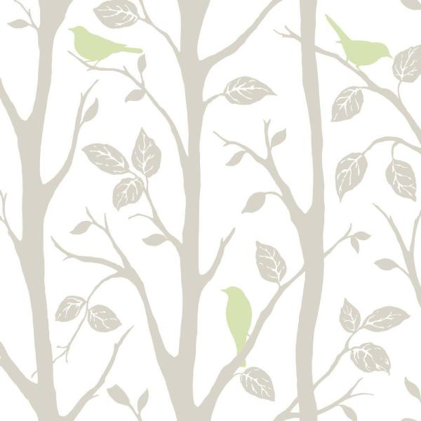 Grey and Green Sitting In A Tree Vinyl Strippable Wallpaper (Covers 30.75 sq. ft.)