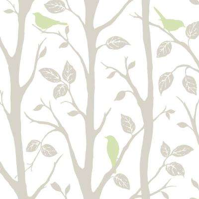 Grey and Green Sitting In A Tree Multi-Color Wallpaper Sample