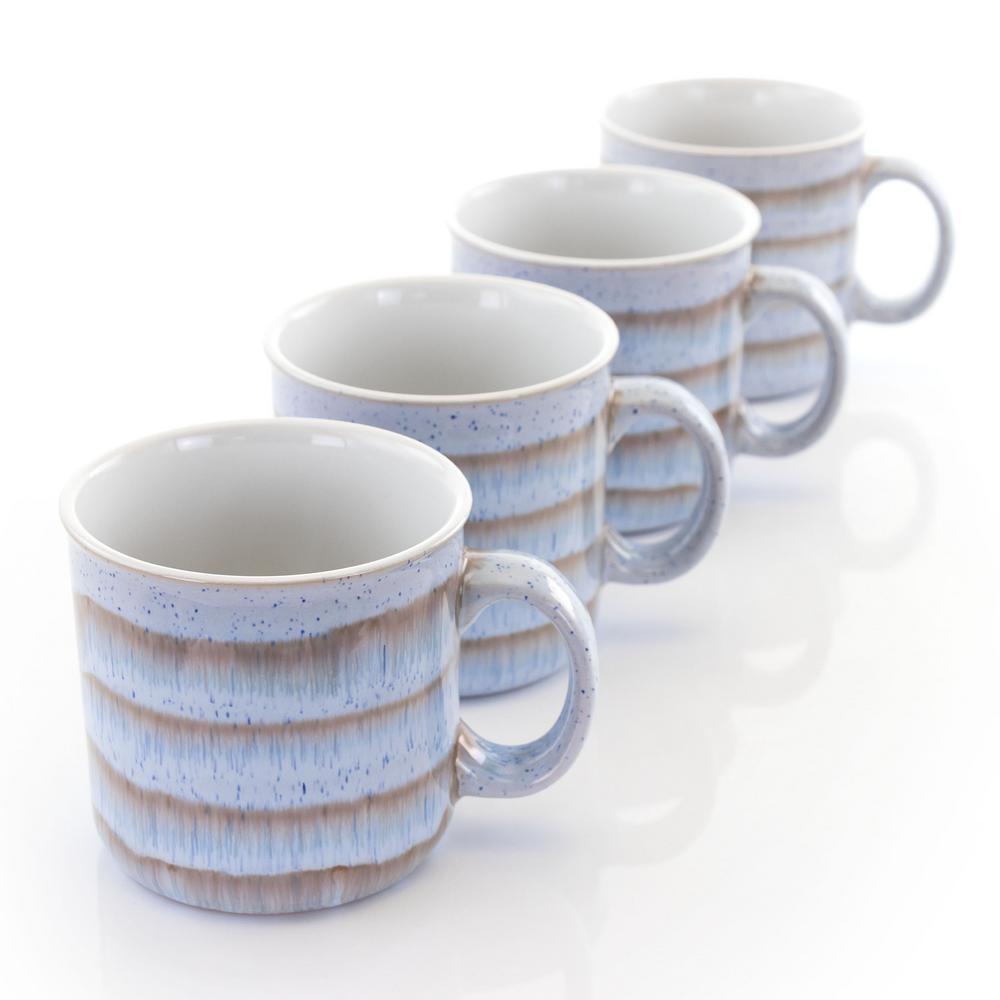 19 oz. Brown and Blue Stoneware Mug (Set of 4)
