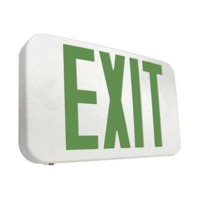 25-Watt White Integrated LED Exit Sign with Green Letters
