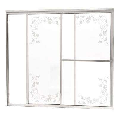 Model 1100 58-1/2 in. x 56-3/4 in. Framed Sliding Tub Door in Bright Clear with Etched Floral Glass and Towel Bar