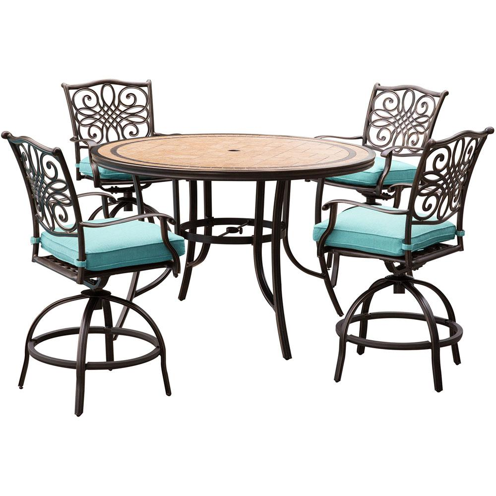 Hanover Monaco 5-Piece Aluminum Outdoor High Dining Set with Round Tile-Top  Table and Swivel Chairs With Blue Cushions