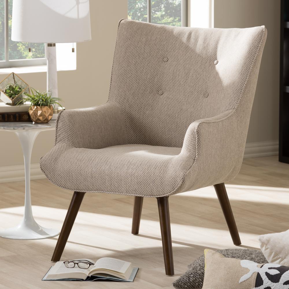 Lerhamn Chair Black Brown Ramna Beige: Baxton Studio Nola Mid-Century Beige/Brown Fabric