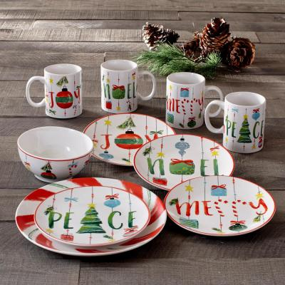 Peppermint 16-Piece Holiday Multi Porcelain Dinnerware Set (Service for 4)