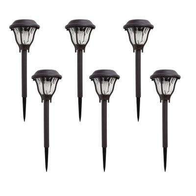 Solar Bronze Outdoor Integrated LED Landscape Path Light with Water Patterned Lens (6-Pack)