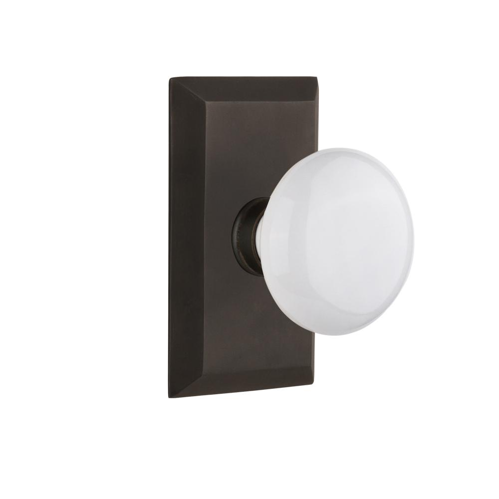 Studio Plate 2-3/4 in. Backset Oil-Rubbed Bronze Passage Hall/Closet White