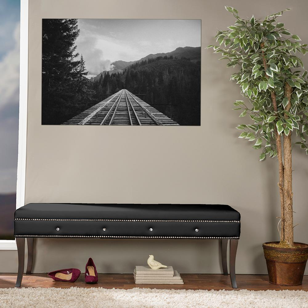 Aloisia Contemporary Black Faux Leather Upholstered Bench