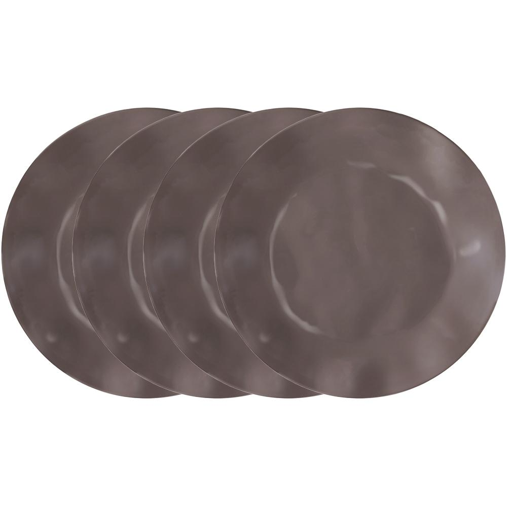 Ruffle 4-Piece Brown Melamine Dinner Plate Set