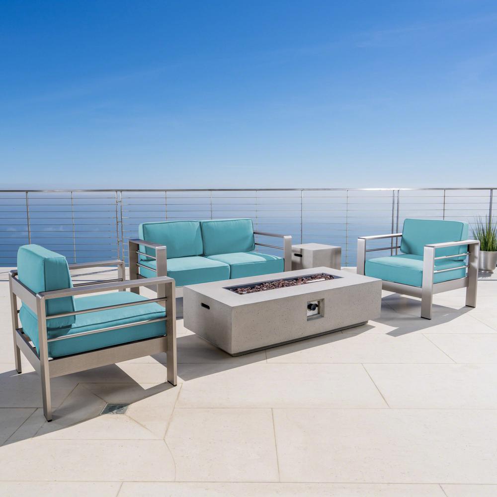5-Piece Metal Patio Fire Pit Conversation Set with Sunbrella Canvas Aruba Cushions