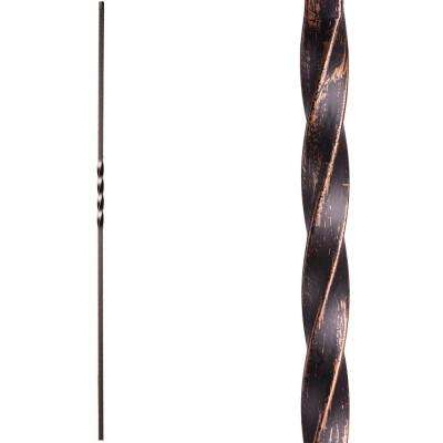 Twist and Basket 44 in. x 0.5 in. Oil Rubbed Bronze Single Twist Hollow Wrought Iron Baluster