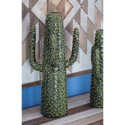 20 in. Glazed Green Ceramic Cactus-Shaped Decorative Vase