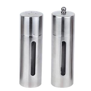 Click here to buy BergHOFF Straight Line 18/10 Stainless Steel Salt and Pepper Mill Set by BergHOFF.