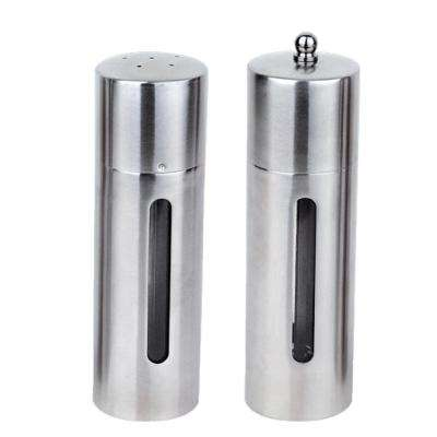Straight Line 18/10 Stainless Steel Salt and Pepper Mill Set