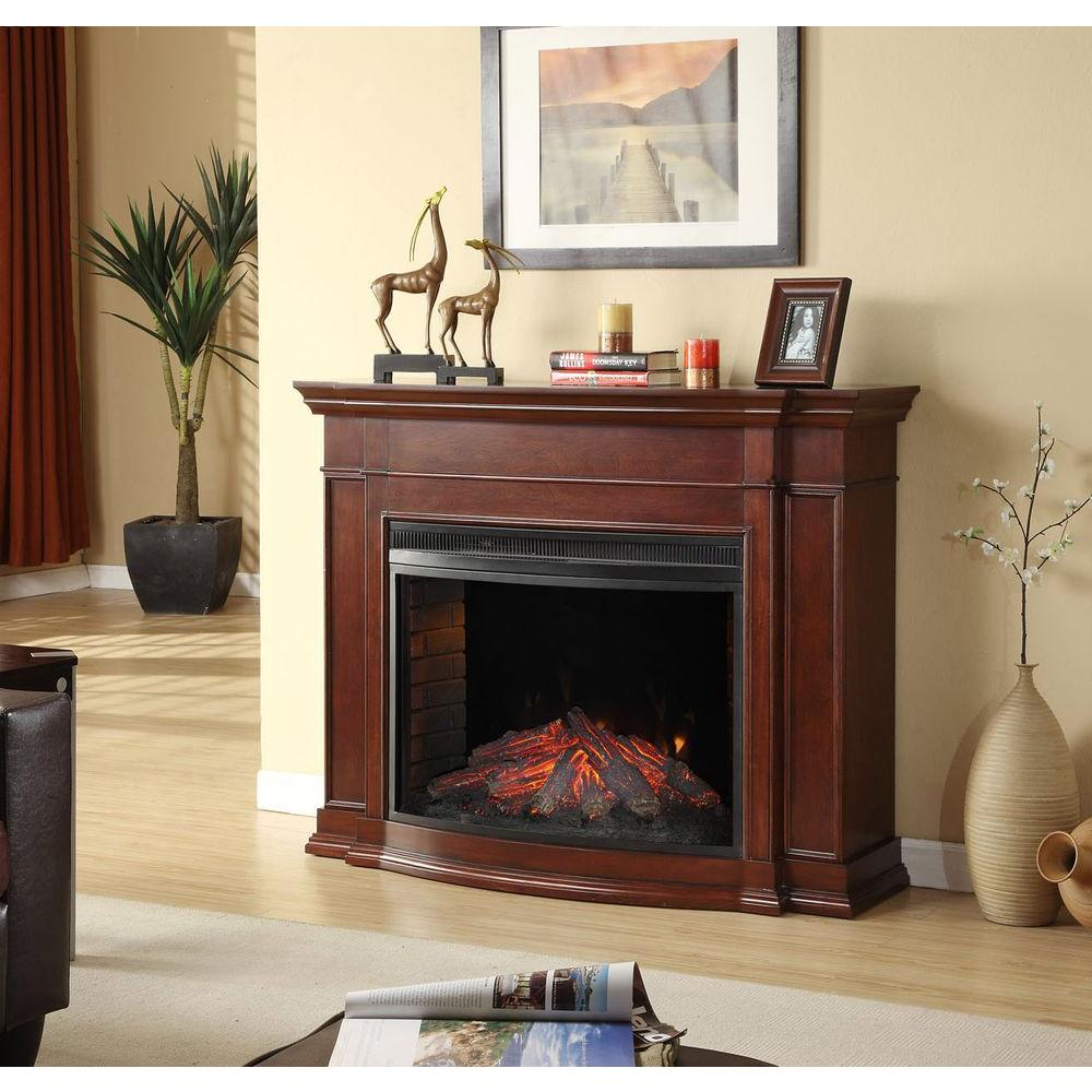 Hampton Bay Soames 53 in. Electric Fireplace in Cherry-DISCONTINUED
