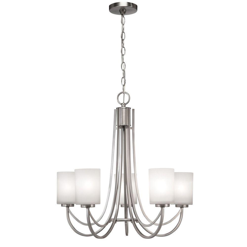 Hampton Bay Interior Foyer Lantern : Hampton bay light brushed nickel white shade ceiling