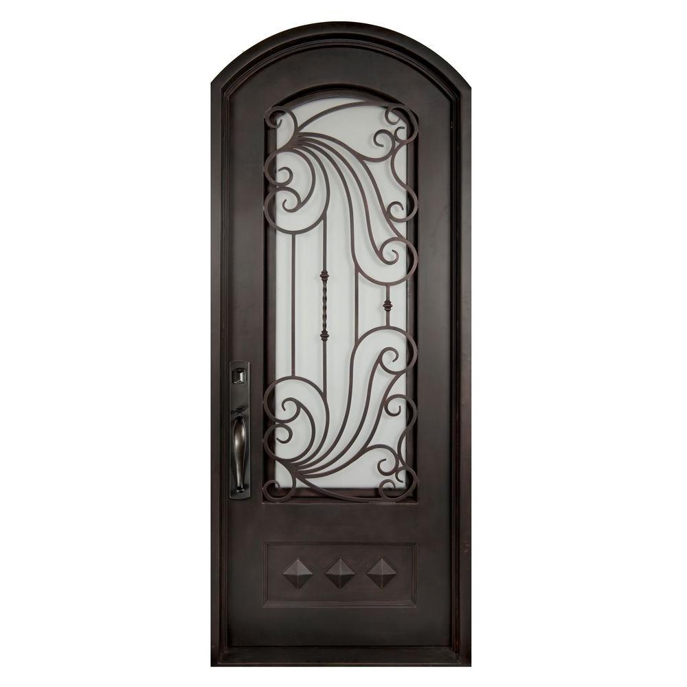 Iron Doors Unlimited 40 in. x 82 in. Mara Marea Classic 3/4 Lite Painted Oil Rubbed Bronze Decorative Wrought Iron Prehung Front Door