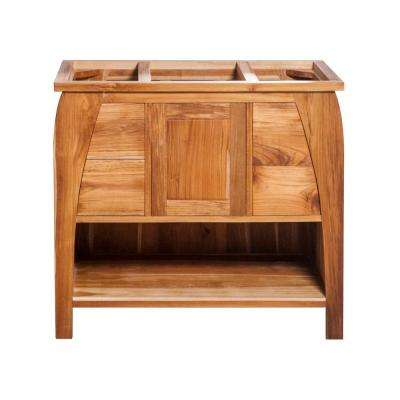 Tranquility 36 in. L Teak Vanity Cabinet Only in Natural Teak