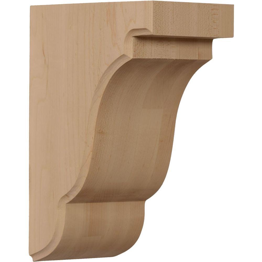 Ekena Millwork 3-1/2 in. x 5 in. x 7-1/2 in. Unfinished Walnut Bedford Corbel