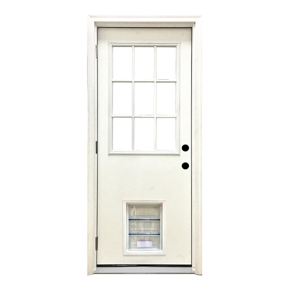 32 in. x 80 in. Classic Clear 9 Lite RHOS White Primed Fiberglass Prehung Front Door with XL Pet Door