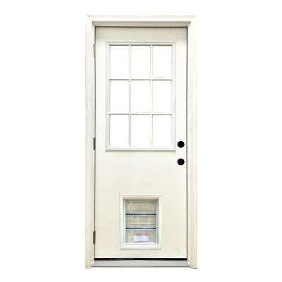 36 in. x 80 in. Classic 9 Lite RHOS White Primed Textured Fiberglass Prehung Front Door with XL Pet Door