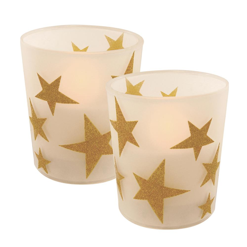 Lumabase Gold Stars Battery Operated Led Candles 2 Count